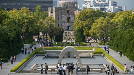 The Cenotaph and A-Bomb Dome in Hiroshima Peace Memorial Park, Japan