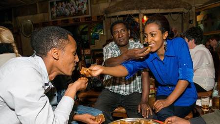 YOD Abyssinia Cultural Restaurant in Addis Ababa serves popular Injera meals