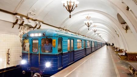 Train at Arbatskaya metro station, Moscow, Russia