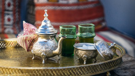 Moroccan mint tea is the national hot drink, served in a special silver teapot with sugar