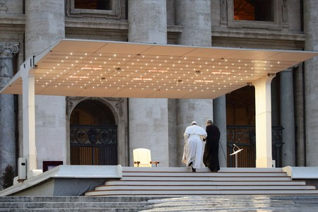 Pope Francis has been delivering prayers and blessings to an empty St Peter's Square in Vatican City