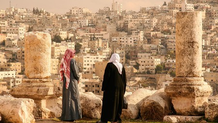 Take in the view of Jordan's capital Amman from the Hill of the Citadel, or Jabal al-Qal'a
