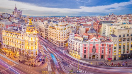Downtown Madrid, Spain, where the Calle de Alcala meets the Gran Via.