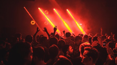 A crowd enjoying music at a techno club.