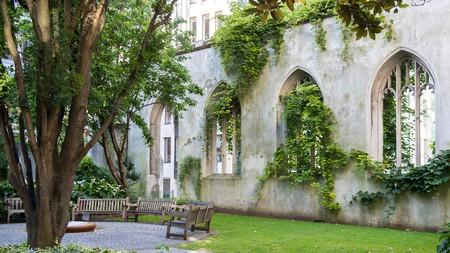 Hidden garden in the ruins of St. Dunstan in the East, London