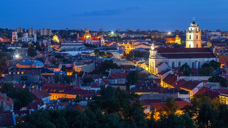 Vilnius summer panorama of Old town from Gediminas Castle Tower