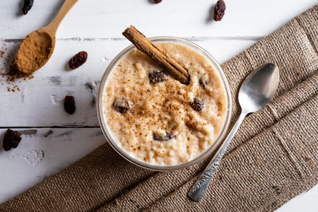 Rice pudding is a popular dessert in Cuba, studded with raisins and spiced with cinnamon