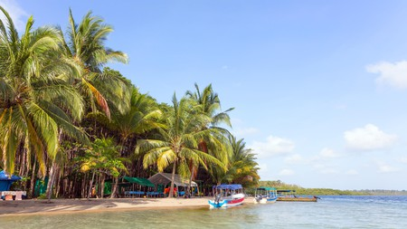 Boats at the Starfish Beach, archipelago Bocas del Toro, Panama