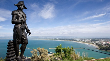 The statue of Cook is situated in Gisborne, where he first landed in New Zealand in 1769