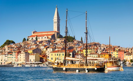 The pretty old town and fishing port of Rovinj, in Istria, Croatia