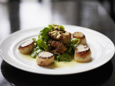 Seared Alaskan scallops with roasted cauliflower