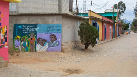 Artwork – like this one – is often used to promote the rights of indigenous people in Santa Ana Zegache, Oaxaca