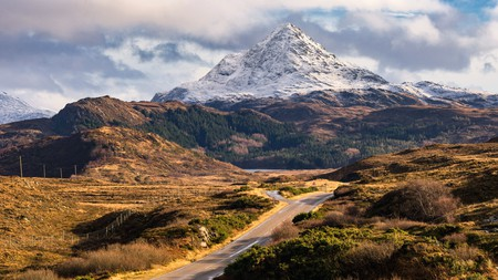 Snow-capped Ben Stack in northwest Scotland