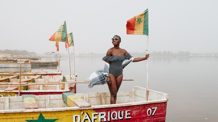 Nabongo during her two-and-a-half-year world trip, seen here on the Lac Rose in Senegal