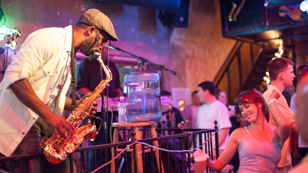 Bourbon Street in the French Quarter is famous for its nightlife and live music bars