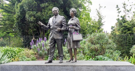 Bronze statues of Pastor Sir Douglas and Lady Gladys Nicholls in Parliament Gardens at the beginning of the Melbourne Aboriginal Walk