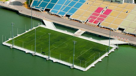 The largest floating football pitch in the world