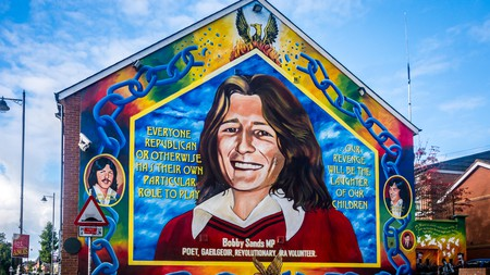 A mural of Bobby Sands adorns a wall on Belfast's Falls Road