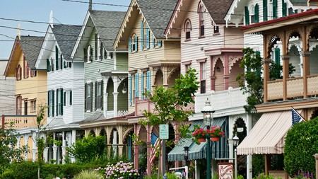 Victorian houses on Gurney Street in Cape May, NJ