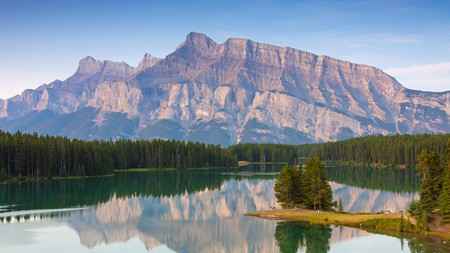 Mount Rundle looming over Two Jack Lake –one of many iconic mountains in Banff National Park