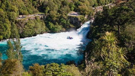 A jet boat at Huka Falls, New Zealand