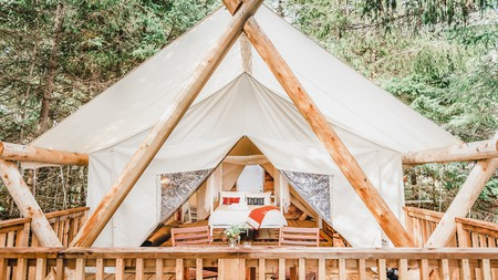 Sleep in a luxury glamping tent on the wooded shores of of Haida Gwaii