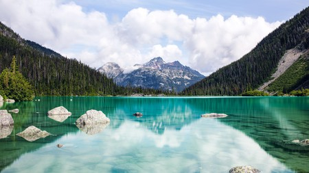 Joffre Lakes Provincial Park is home to three brilliantly colored glacier-fed lakes