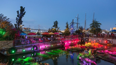 Spruce Street Harbor Park in Philadelphia is a seasonal venue worth checking out, especially at night