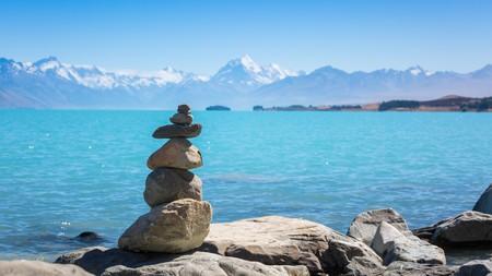Lake Pukaki is a large alpine lake in the Mackenzie Basin, New Zealand