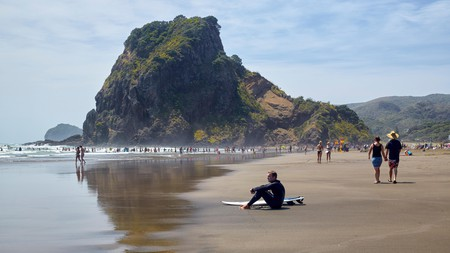 The stunning Piha Beach with Lion Rock in the background