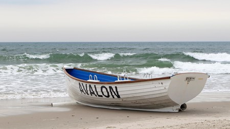 A lifeboat on the beach in Avalon, New Jersey USA. A shore community in Cape May County.