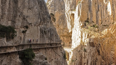 Many of the world's most perilous hikes are on cliff faces, including El Caminito del Rey, in Spain
