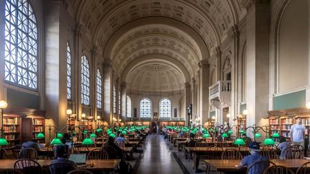 Main reading hall in Boston Public Library