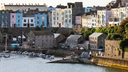 The colourful harbour in Tenby, Wales, makes for a scenic getaway