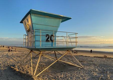 Lifeguard tower on the Coronado Beach during sunset time. San Diego, California, USA.