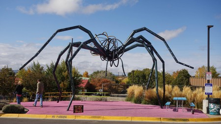Spider in front of Meow Wolf art installation in Santa Fe, NM