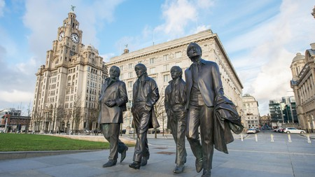 Statue of the Beatles stands in the heart of Liverpool's cultural epicentre near the docks
