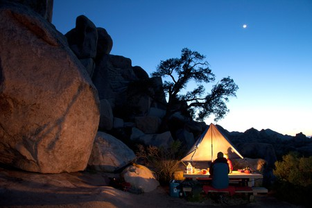 Campers in Hidden Valley Campground at Joshua Tree National Park