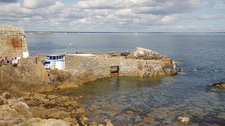 The Forty Foot, at Sandycove in Dublin, is a popular spot for swimming