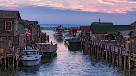 Experience a sunset over Lake Michigan and historic Fishtown in Leland, Michigan