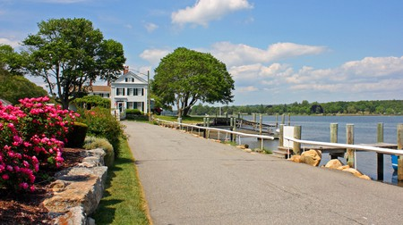 A scenic view of the waterfront in Mystic, Connecticut