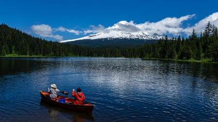 Trillium Lake, near Portland, Oregon, offers plenty of campsites and a variety of water activities