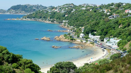 Wellington's beaches extend along the Cook Strait between the Tasman Sea and the South Pacific Ocean