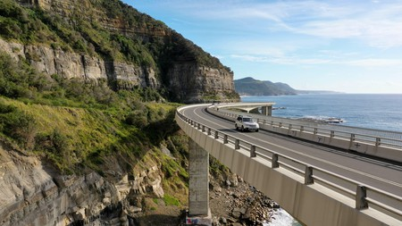 Travelling on the sea cliff bridge coastal drivel along the Grand pacific drive, East coast of Australia