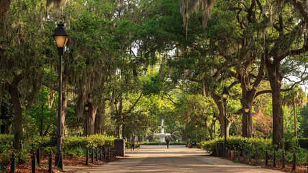 The cast-iron fountain in Forsyth Park was made famous by the movie 'Midnight in the Garden of Good and Evil'