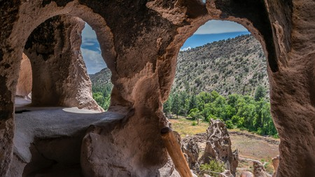 Looking out from a cavate, Bandelier National Monument, Los Alamos, New Mexico