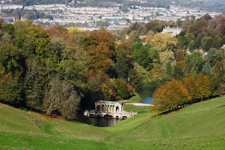 Prior Park Landscape Garden with the city of Bath in the distance. Bath. UK.