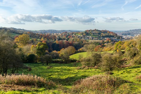 Autumn view of the  countryside around  the English city of Bath from the Skyline Walk at Claverton Down