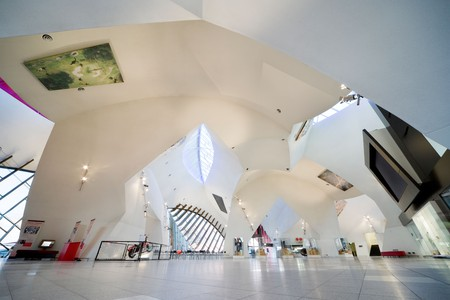 Interior of the The National Museum of Australia in Canberra, ACT, Australia. Main hall and restaurant.