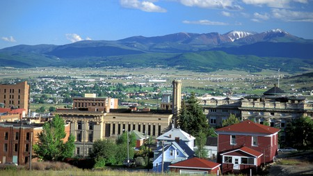 The city of Butte in Montana is overlooked by the Rocky Mountains